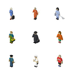 Isometric human set of detective officer lady vector