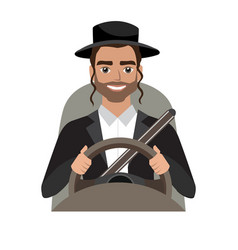 Jew man driving a car man clothing in traditional vector