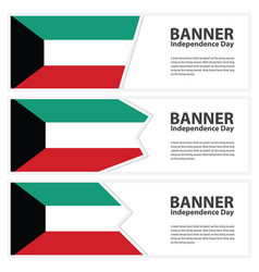 Kuwait flag banners collection independence day vector