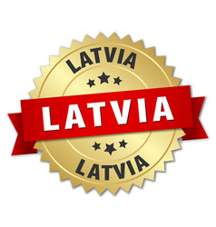 Latvia round golden badge with red ribbon vector