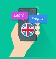 learn english via mobile phone app or study vector image
