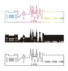 Linz skyline linear style with rainbow vector image
