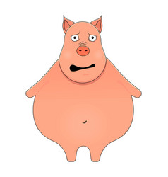 little pig looking afraid in cartoon style kawaii vector image