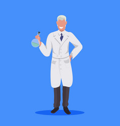 male scientist holding test tube man laboratory vector image