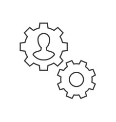 man inside gear outline icon management vector image