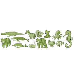 many wild animals in set green vector image