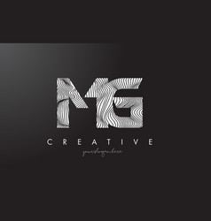 Mg m g letter logo with zebra lines texture vector