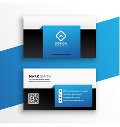 modern blue business card design template layout vector image
