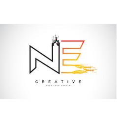 Ne creative modern logo design with orange and vector