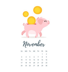november 2019 year calendar page vector image