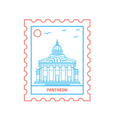 pantheon postage stamp blue and red line style vector image