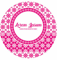 Pink flower sticker label template vector