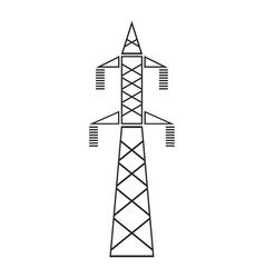 Power line installation for transmission flat vector