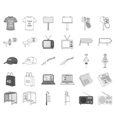 Production of advertising monochromeoutline icons vector