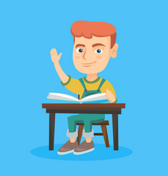 Pupil raising hand while sitting at the desk vector