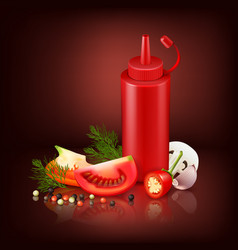 realistic ketchubackground with red plastic bottle vector image