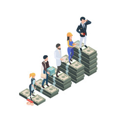 Salary difference wage professionals isometric vector