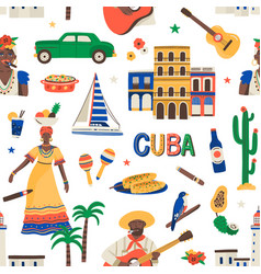 seamless cuban pattern with ethnic latin food car vector image
