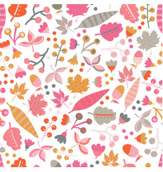 Seamless pattern fall doodle leaves vector