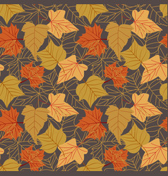 Seamless pattern with autumn leaves with line vector