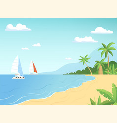 Seaside landscape summer beach with palm trees vector