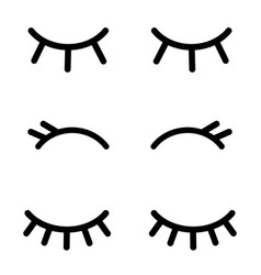 set cartoon closed eyes icons isolated on white vector image