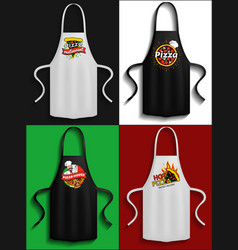 set of aprons with pizzeria logos clothes vector image