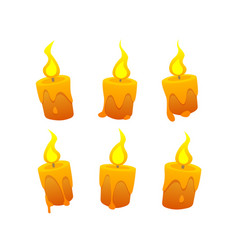 set of cartoon candles on white background vector image