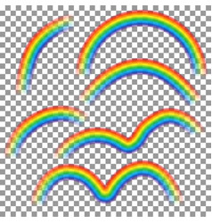 set of different rainbows isolated on transparent vector image