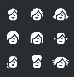 Set of female hairstyle icons vector