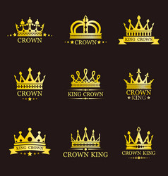 set of isolated king or queen crowns for brand vector image
