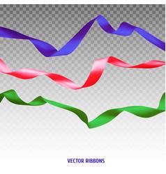 Set of three colorful ribbons vector