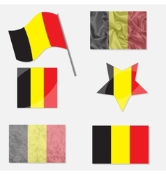 Set with Flags of Belgium vector