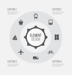 Shipment icons set collection of way aircraft vector