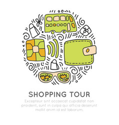 Shopping tour icon hand draw cartooning vector