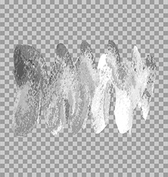 Silver brush paint stroke wave on transparent gray vector