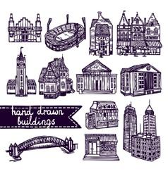 Sketch city building set vector image