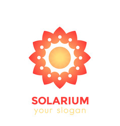 solarium logo with sun and flower vector image