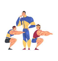 Sportive muscular men doing squats male coach vector