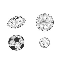 sports balls set sketch vector image