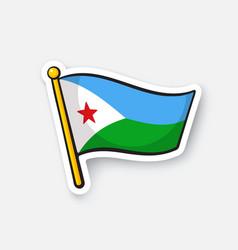 Sticker flag djibouti vector