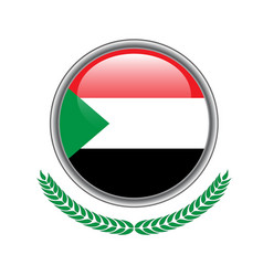 sudan flag button sudan flag icon of sudan flag vector image