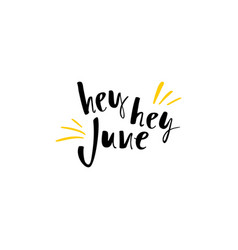 summer greeting card with phrase hey june vector image