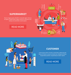 supermarket customers banners vector image