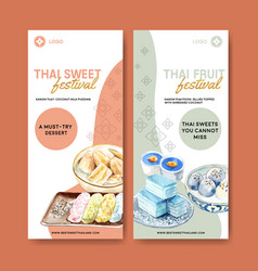 Thai sweet flyer design with pudding layered vector
