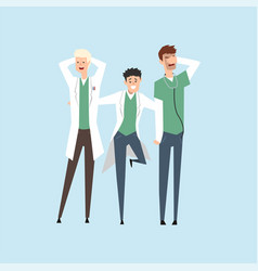 three smiling doctors hospital workers standing vector image
