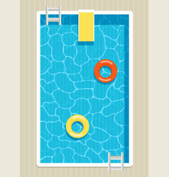 top view of pool with inflatable circles vector image