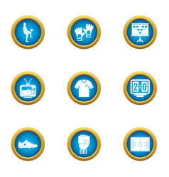 Training area icons set flat style vector