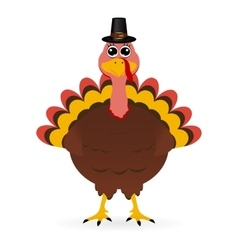 Turkey in hat on Thanksgiving Da vector