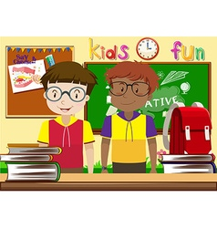 Two boys in the classroom vector image